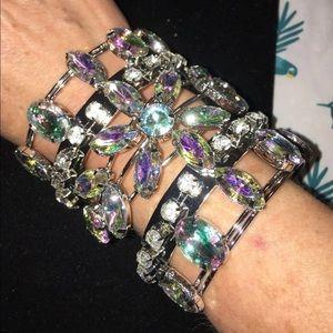 Jewelry - Iridescent rhinestone statement cuff bracelet
